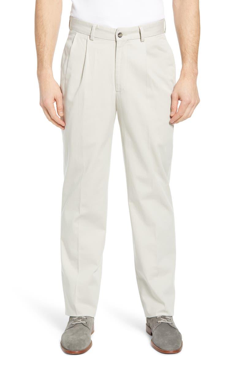 BERLE Charleston Pleated Chino Pants, Main, color, STONE