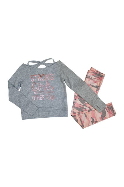 Image of 90 Degree By Reflex Criss Cross Back Long Sleeve Top & Printed Legging Set