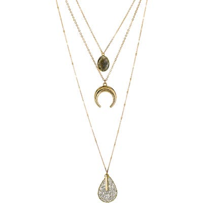 Panacea Horn & Teardrop Pendant Layered Necklace