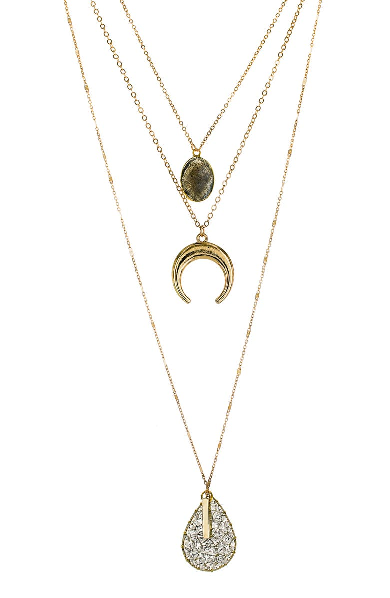 PANACEA Horn & Teardrop Pendant Layered Necklace, Main, color, GREY