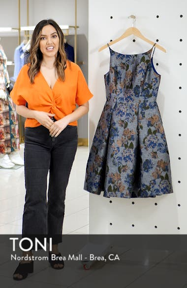 Darryn Floral Brocade Fit & Flare Dress, sales video thumbnail