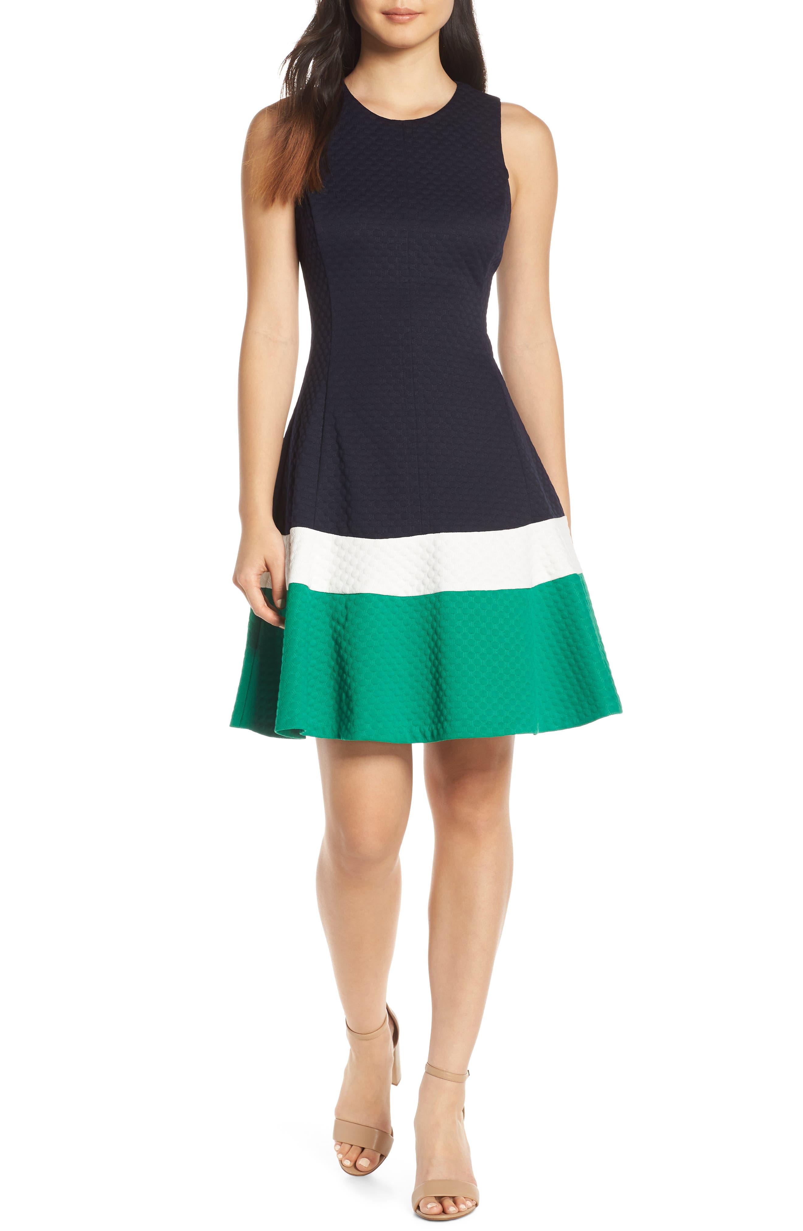 Eliza J Fit & Flare Jacquard Dress, 8 (similar to 1) - Blue