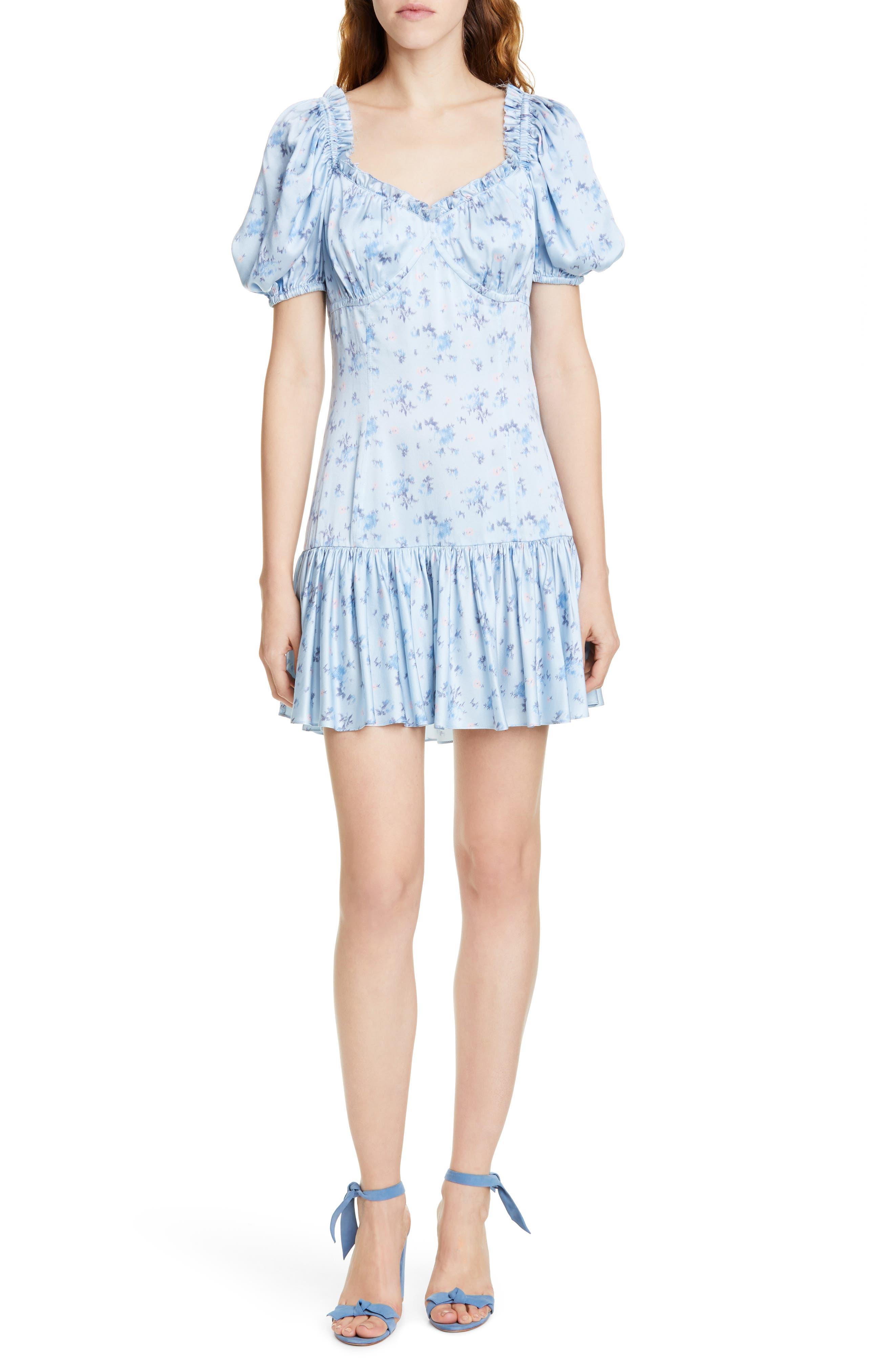 Loveshackfancy Catalina Floral Silk Minidress, Blue