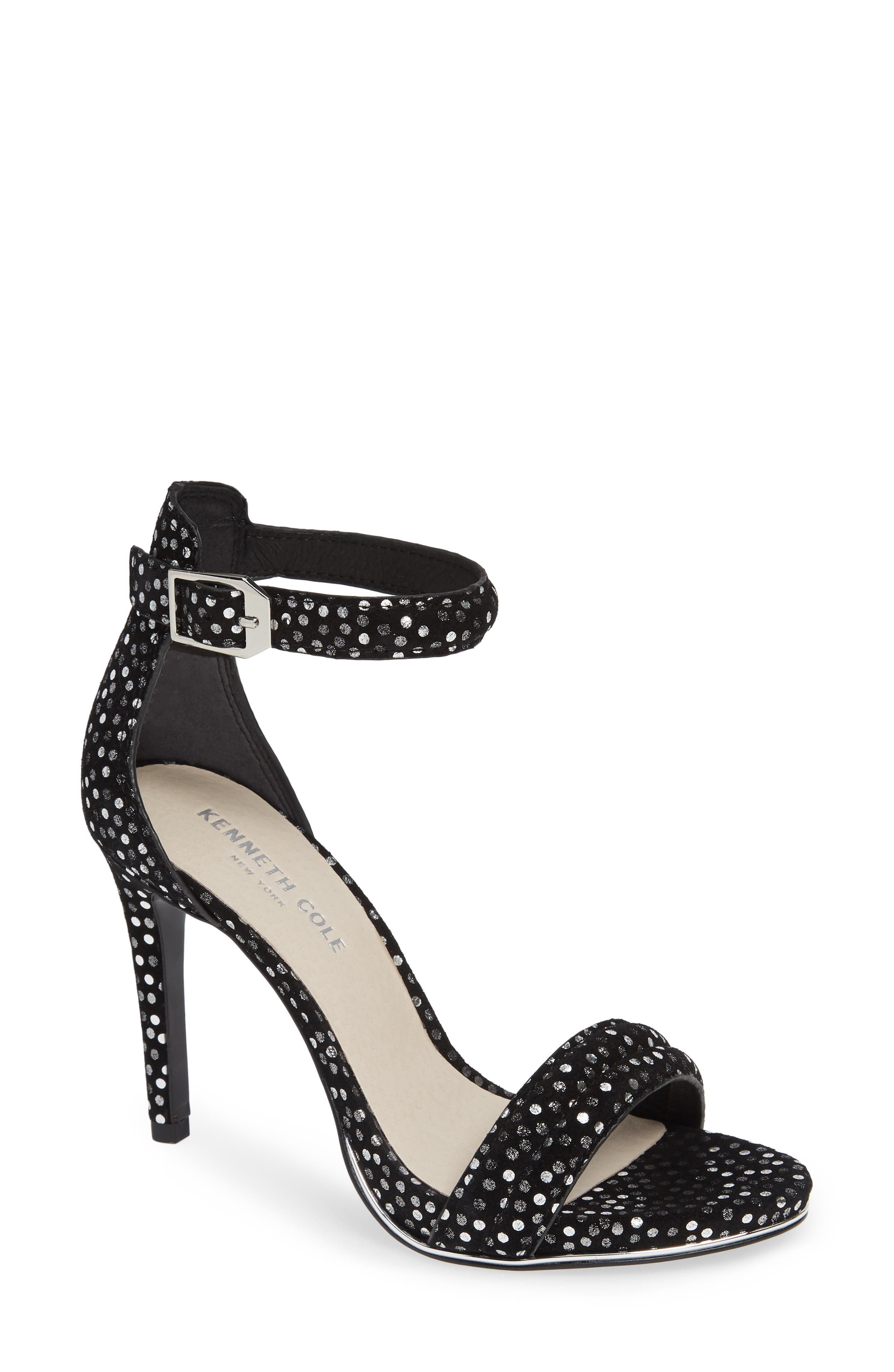 'Brooke' Sandal, Main, color, BLACK/ SILVER SUEDE