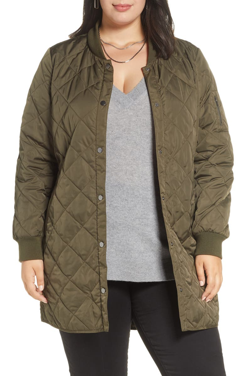 HALOGEN<SUP>®</SUP> Quilted Bomber Coat, Main, color, OLIVE