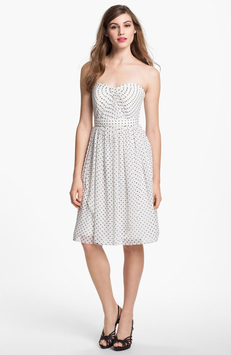 JENNY YOO Keira Convertible Dot Chiffon Fit & Flare Dress, Main, color, IVORY