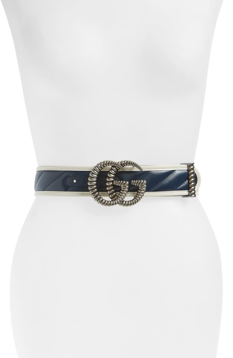 GUCCI Torchon Double G Leather Belt, Main, color, 400