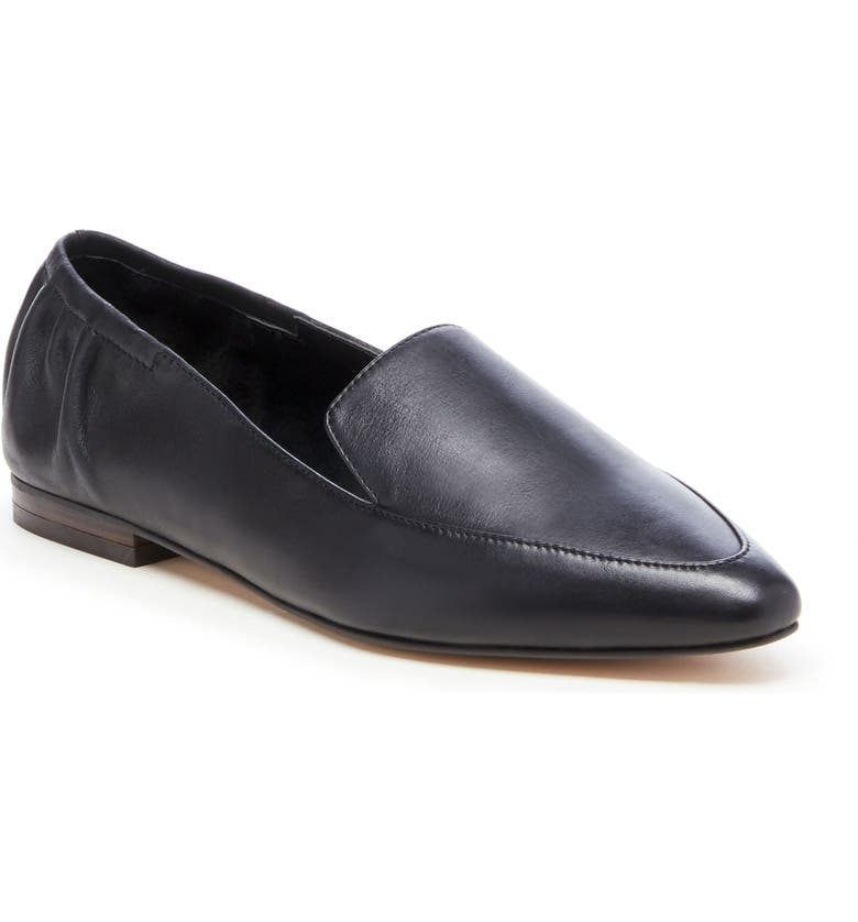 SOLE SOCIETY Breck Pointy Toe Flat, Main, color, BLACK LEATHER