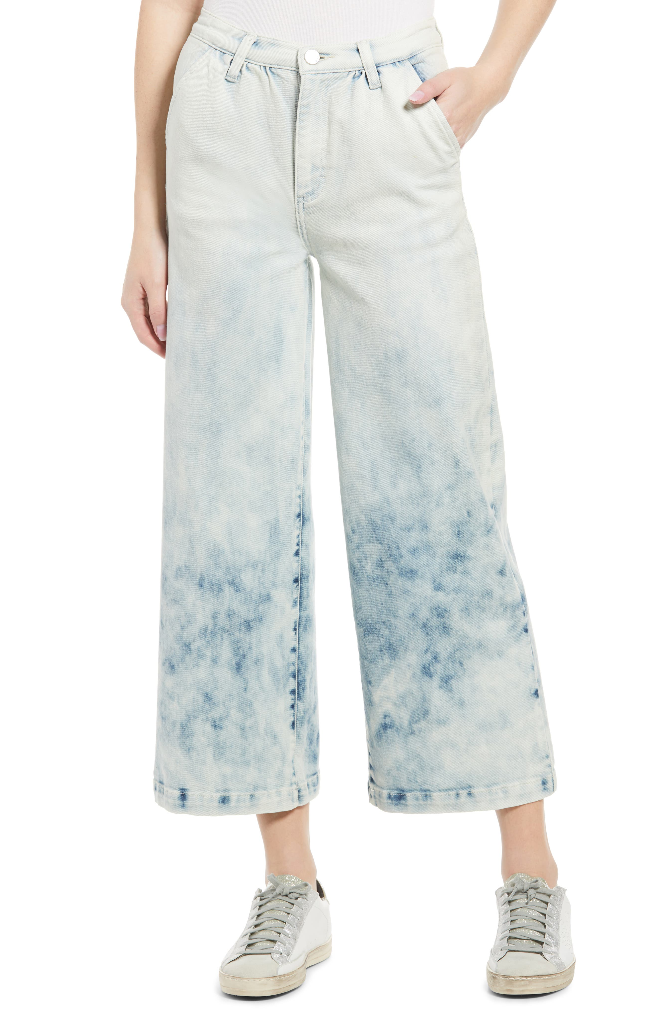 Gradient High Waist Crop Wide Leg Jeans