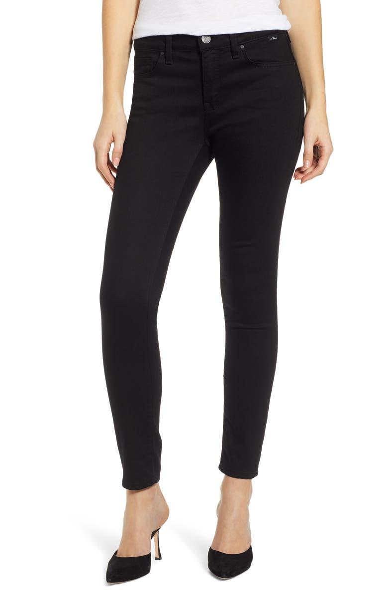 MAVI JEANS Adriana Ankle Skinny Jeans, Main, color, DOUBLE BLACK TRIBECA