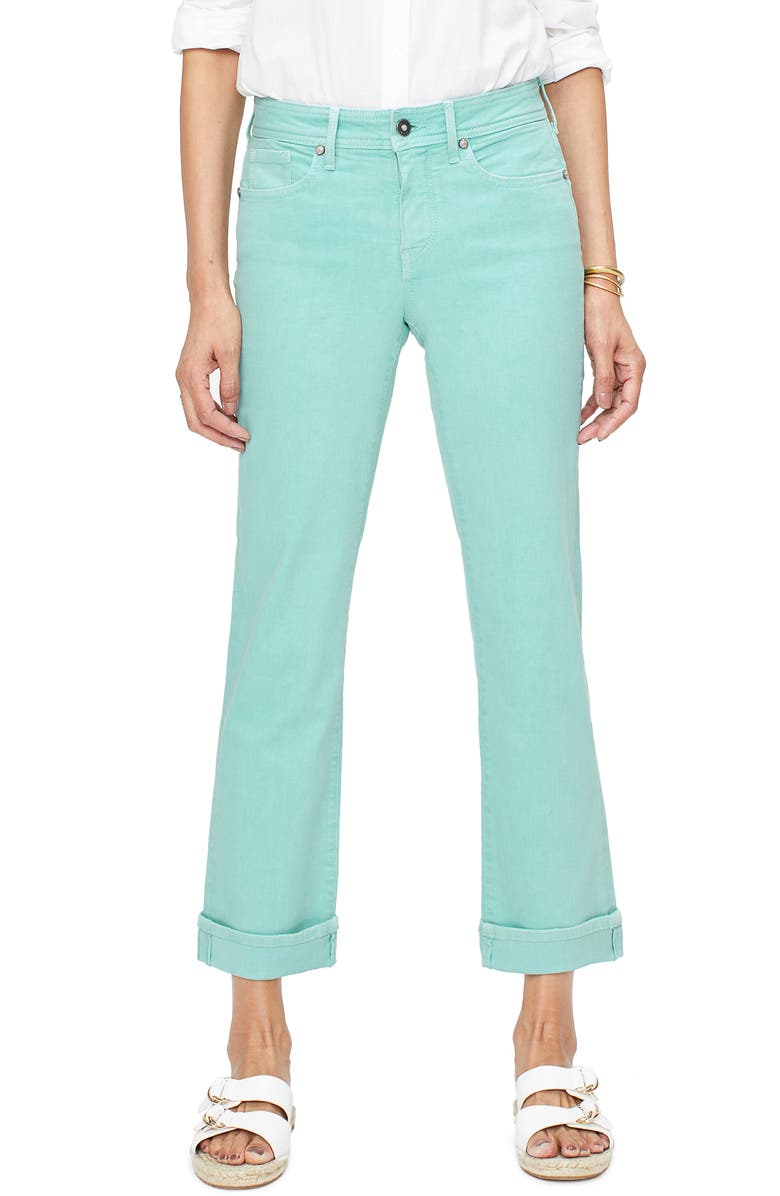 NYDJ Marilyn Cuff Ankle Straight Leg Jeans, Main, color, BLUE DAISY