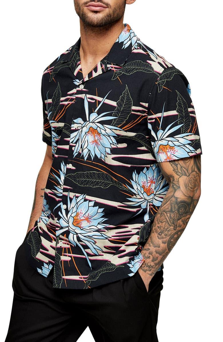 TOPMAN Floral Button-Up Camp Shirt, Main, color, BLACK MULTI