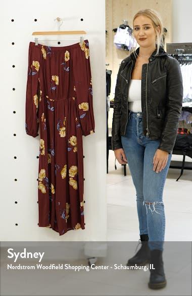 Floral Off the Shoulder Wide Leg Crop Jumpsuit, sales video thumbnail