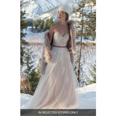 Willowby Geranium Strapless Lace & Tulle Ballgown
