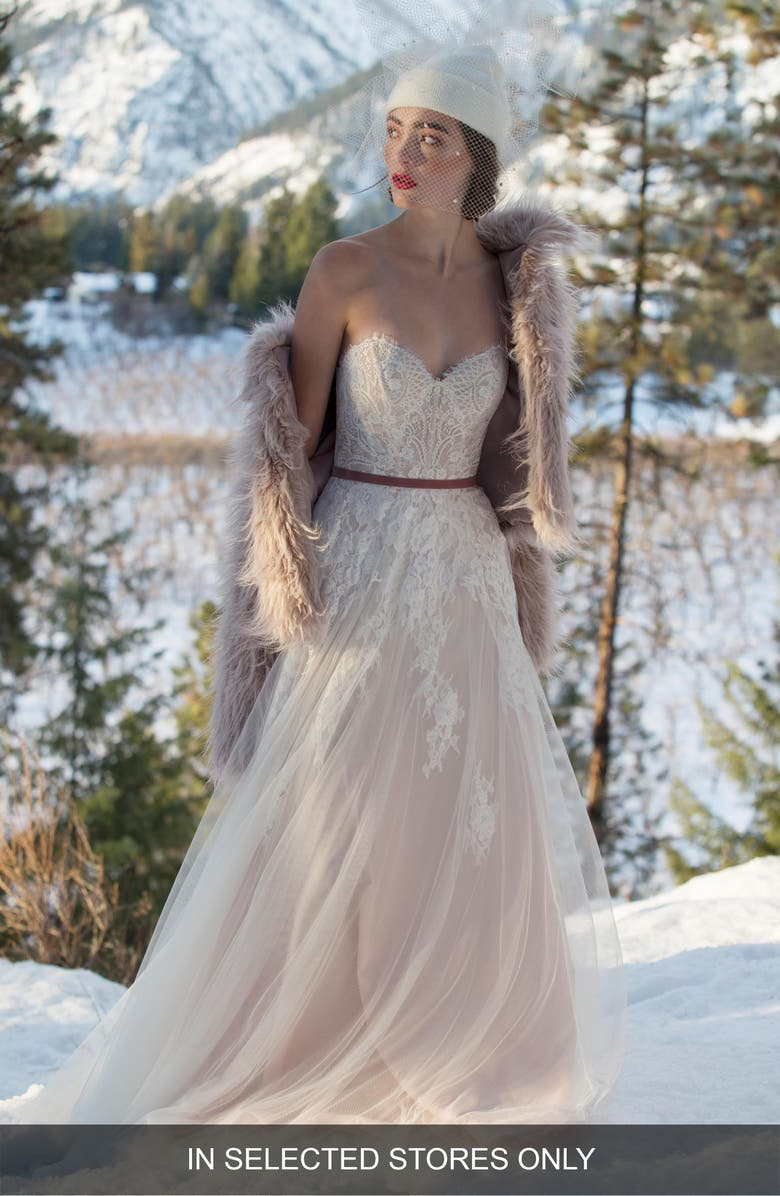 WILLOWBY Geranium Strapless Lace & Tulle Ballgown, Main, color, IVORY/ BLUSH