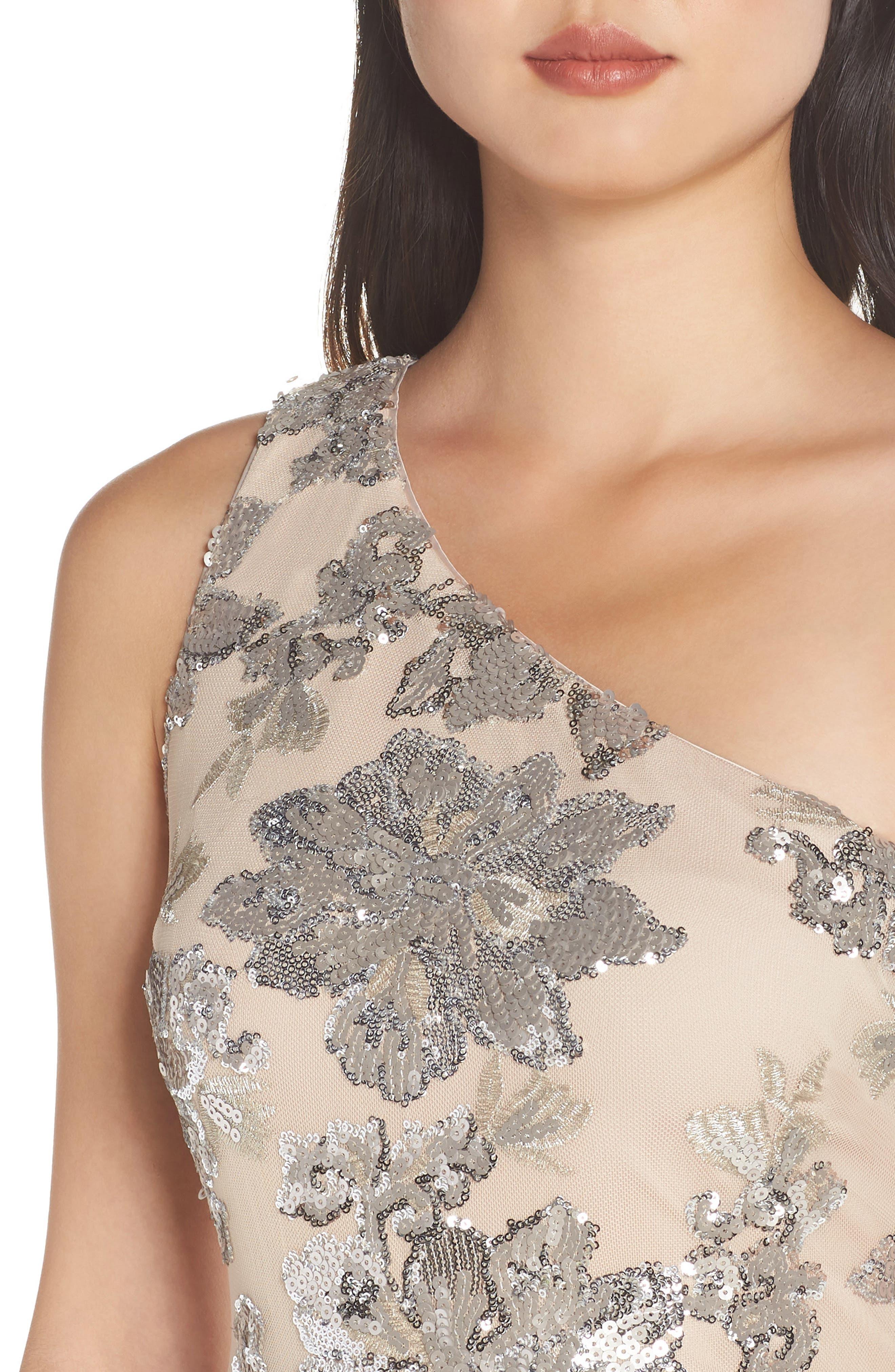 ,                             One-Shoulder Sequin Chiffon Evening Dress,                             Alternate thumbnail 5, color,                             SILVER