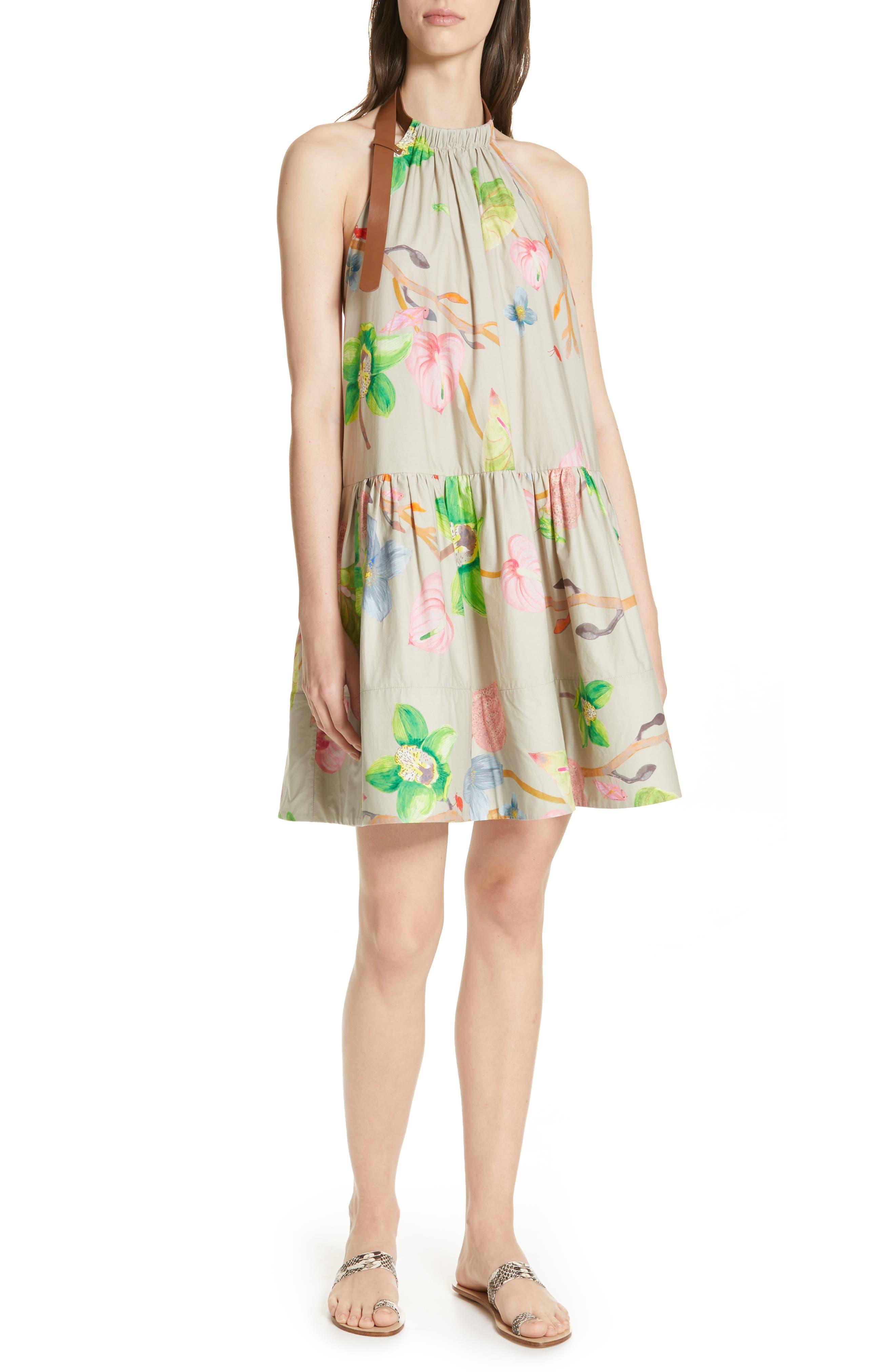 Tibi Linnea Floral Print Poplin Halter Dress, Beige
