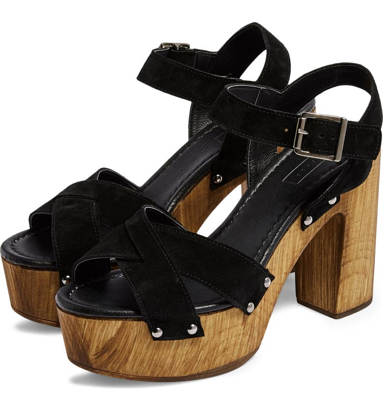 TOPSHOP Vanessa High Heel Clog Sandal, Main, color, BLACK MULTI