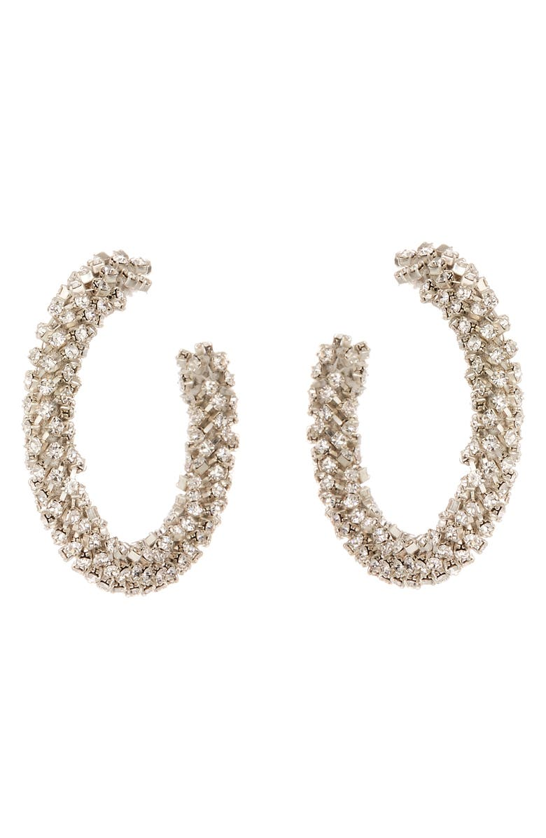 OSCAR DE LA RENTA Crystal Small Hoop Earrings, Main, color, CRYSTAL
