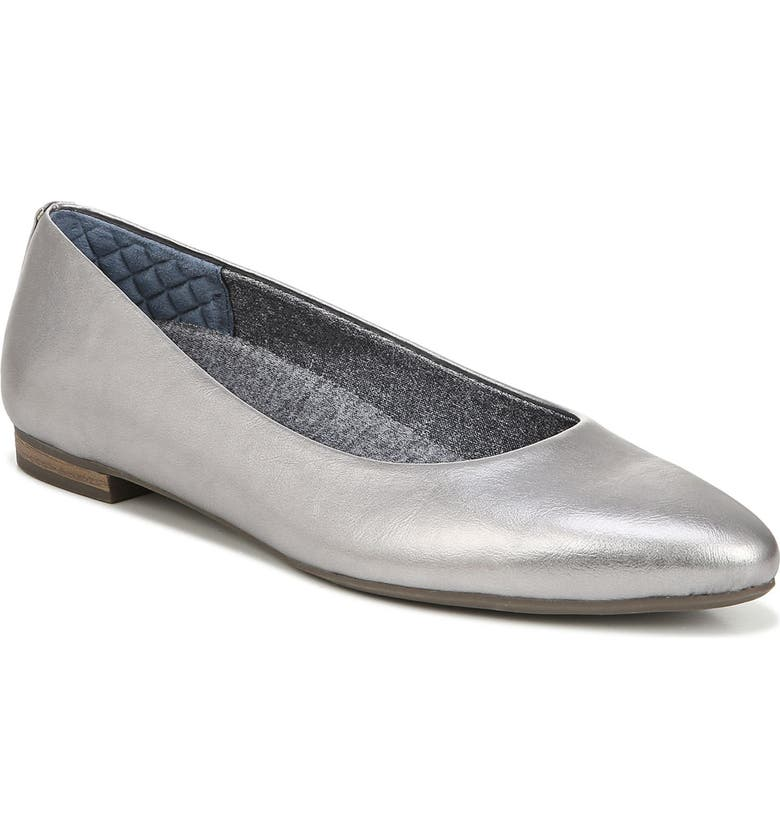 DR. SCHOLL'S Aston Flat, Main, color, SILVER FAUX LEATHER