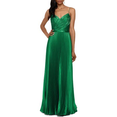 Betsy & Adam Crisscross Pleated Satin A-Line Gown, Green