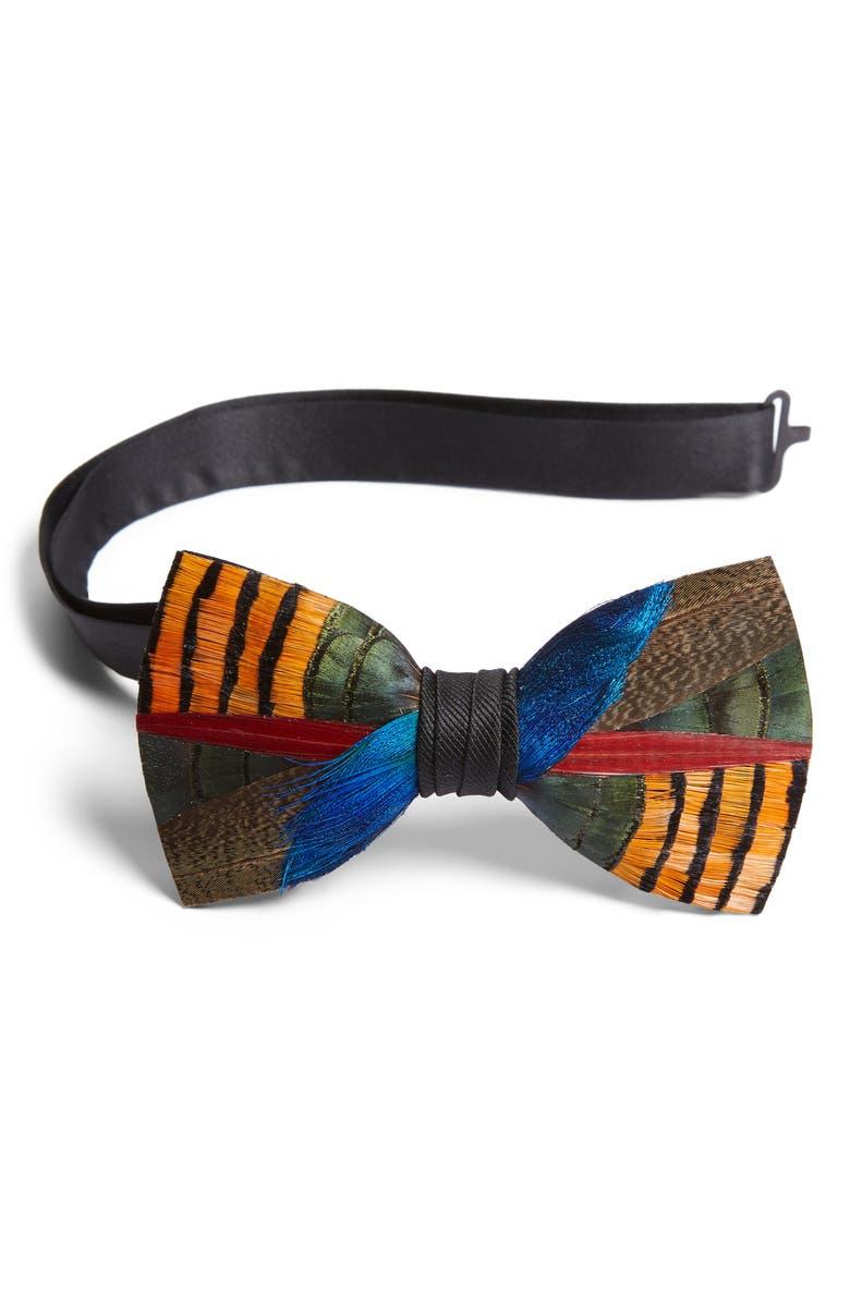 BRACKISH & BELL Wayfair Feather Bow Tie, Main, color, 800
