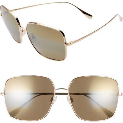 Maui Jim Triton 61Mm Polarizedplus2 Mirrored Square Sunglasses - Gold/ Hcl Bronze