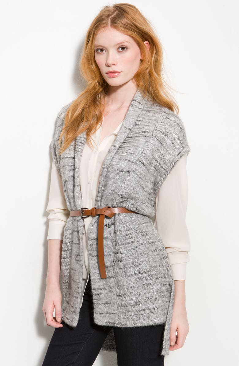 HINGE <sup>®</sup> Belted Asymmetric Sleeveless Cardigan, Main, color, 020