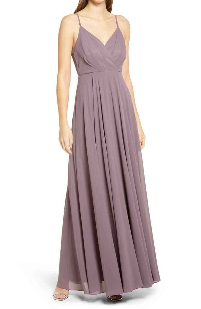 LULUS Surplice Chiffon A-Line Gown, Main, color, 501