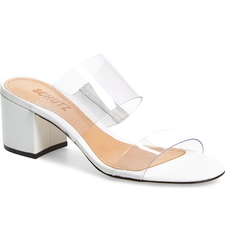SCHUTZ Victorie Slide Sandal, Main, color, TRANSPARENT/ WHITE