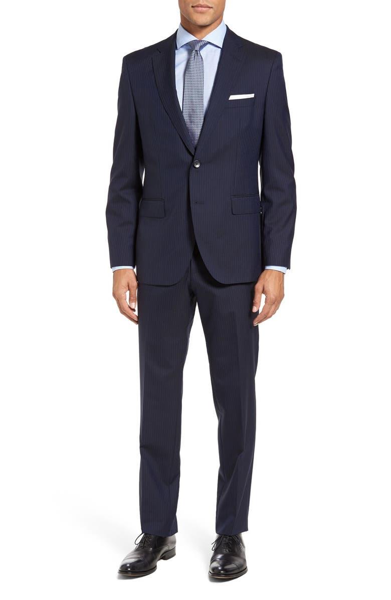 ZZDNUHUGO BOSS BOSS Johnstons/Lenon Trim Fit Stripe Wool Suit, Main, color, 402