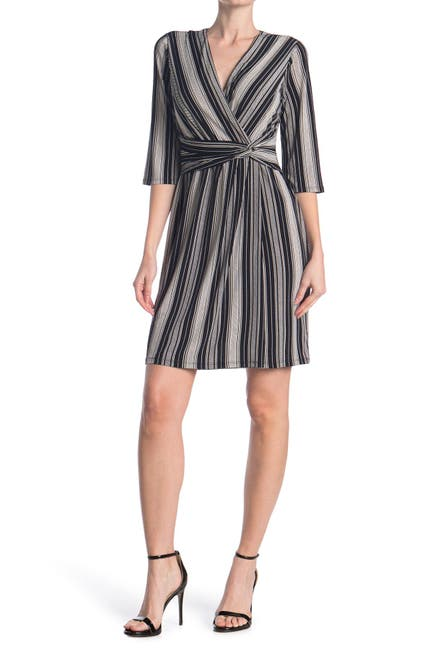 Image of London Times Twist Front Stripe Dress