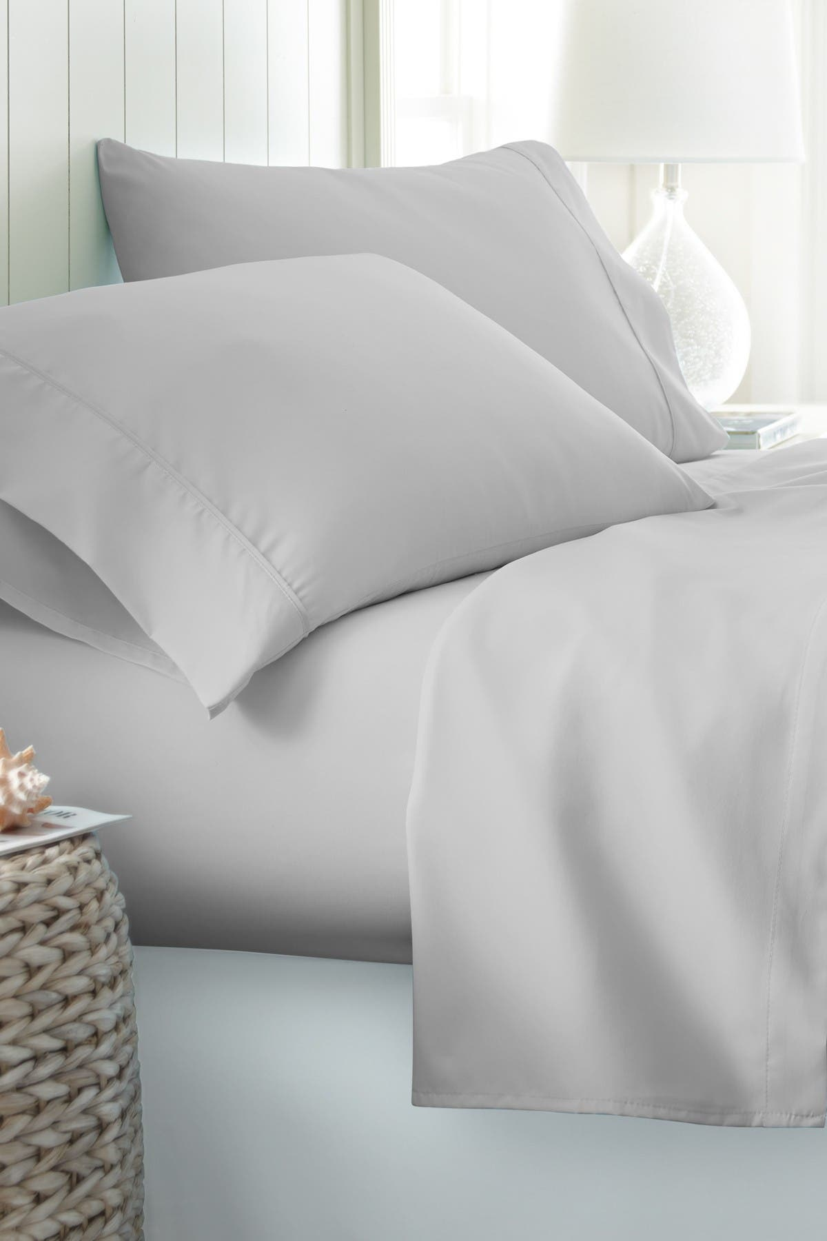 Image of IENJOY HOME Hotel Collection Premium Ultra Soft 4-Piece King Bed Sheet Set - Light Gray