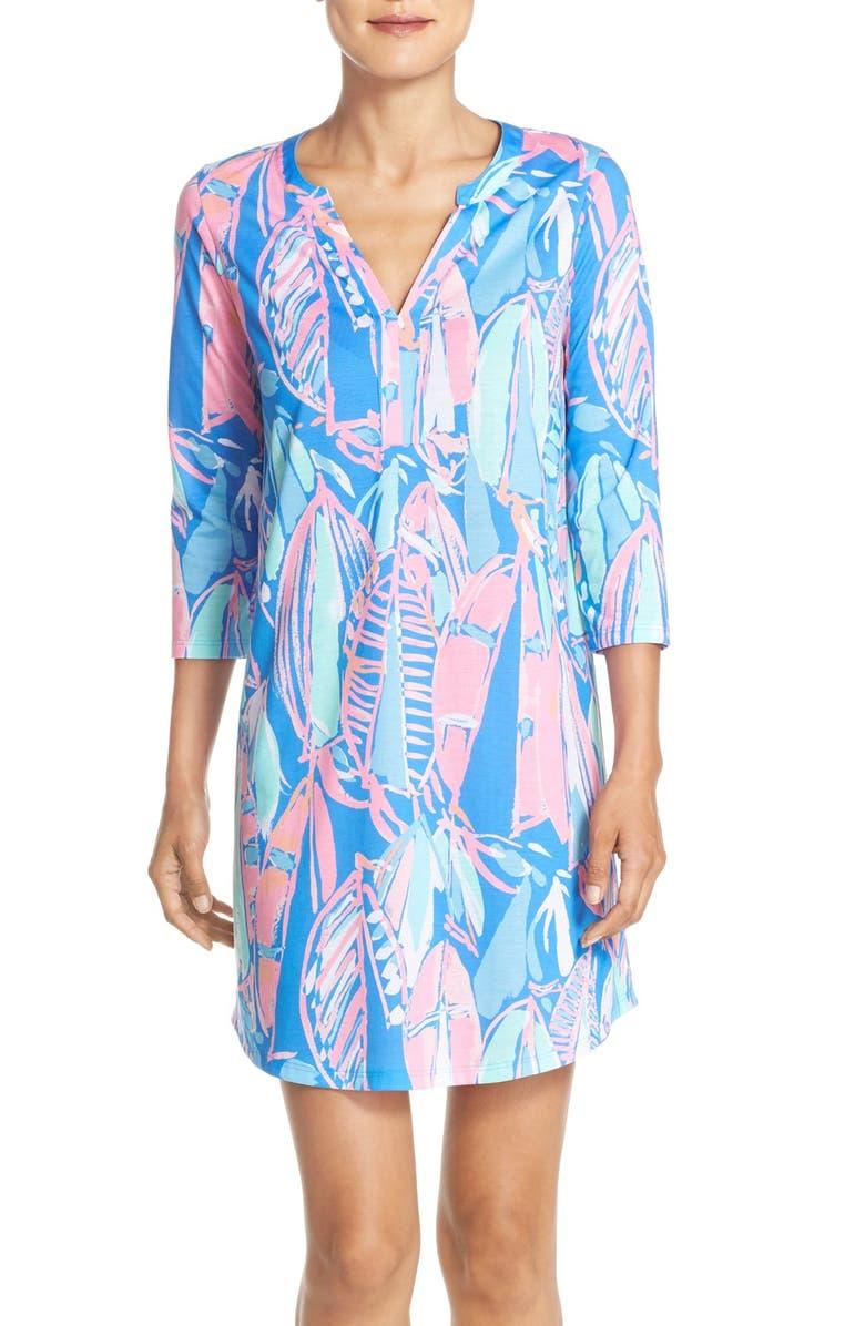 LILLY PULITZER<SUP>®</SUP> 'Ali' Print Pima Cotton Shirtdress, Main, color, 421