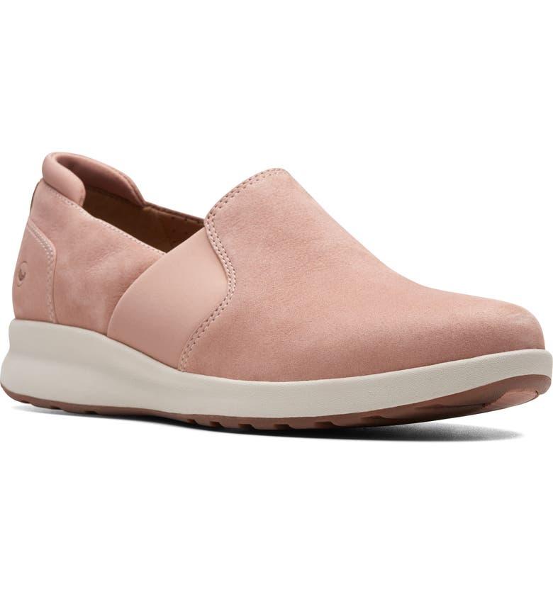CLARKS<SUP>®</SUP> Un Adorn Step Sneaker, Main, color, ROSE NUBUCK