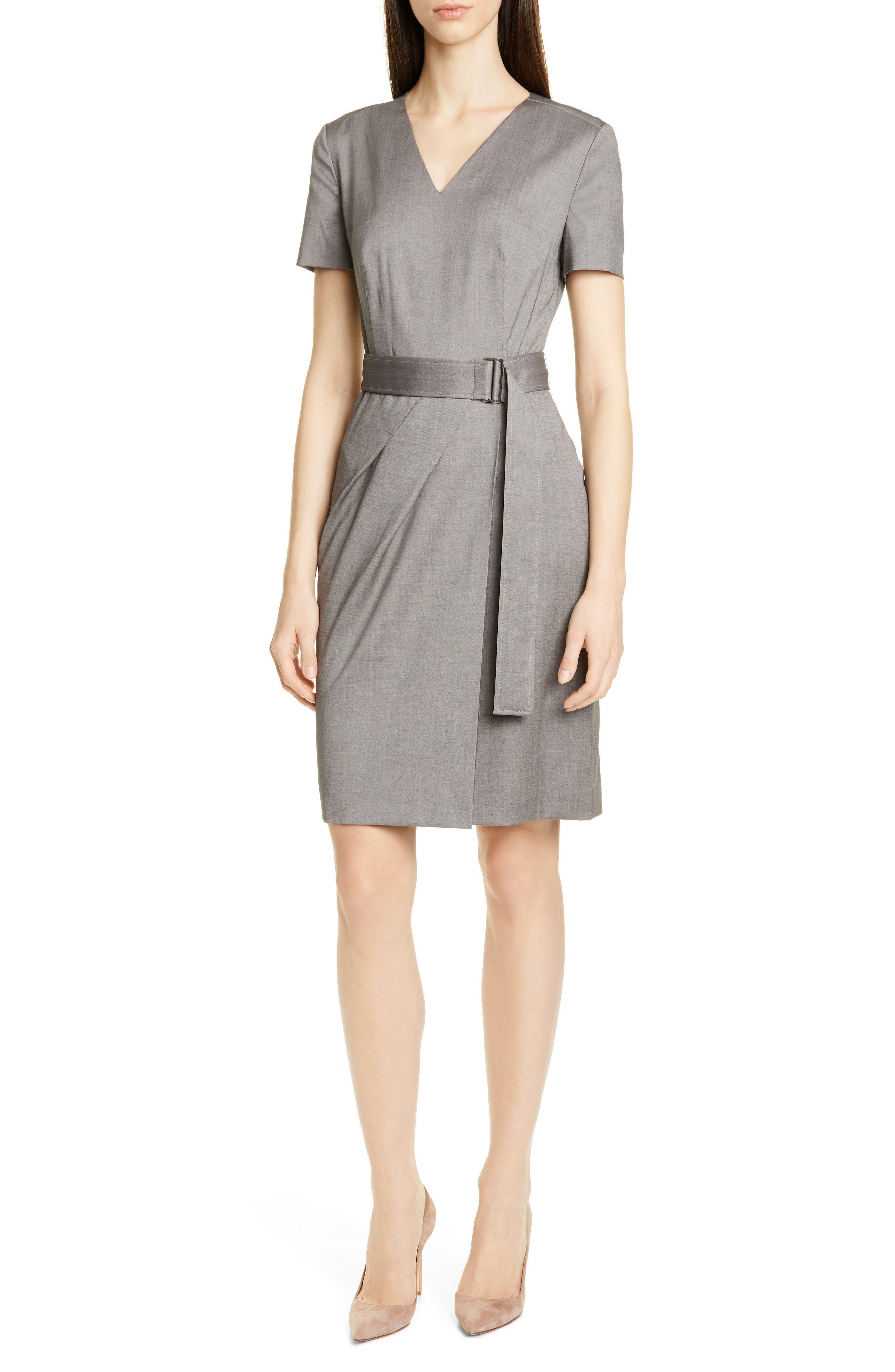 Boss Dasuala Belted Melange Wool Dress, Grey