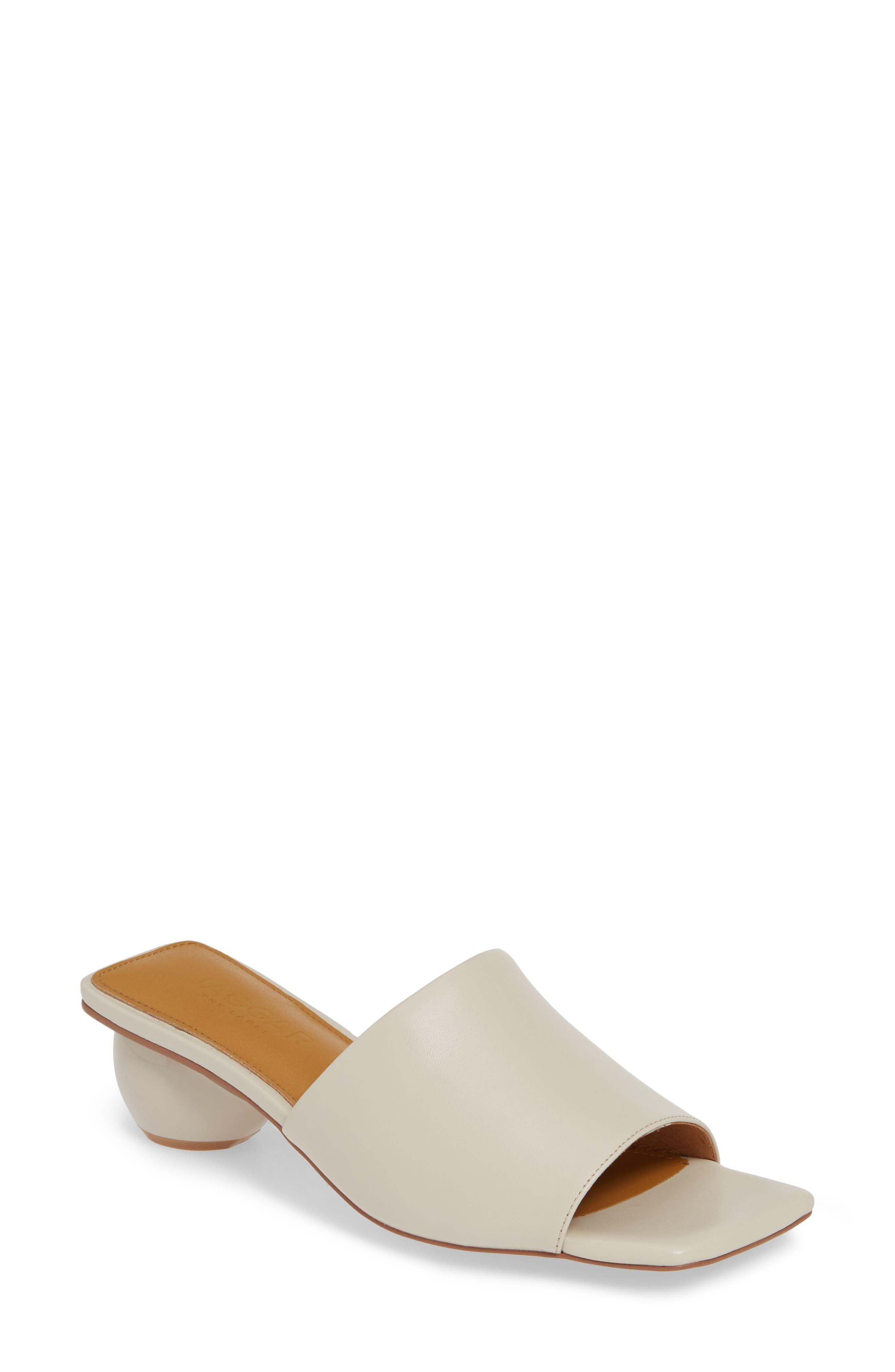 Ball Heel Slide Sandal, Main, color, CREAM LEATHER
