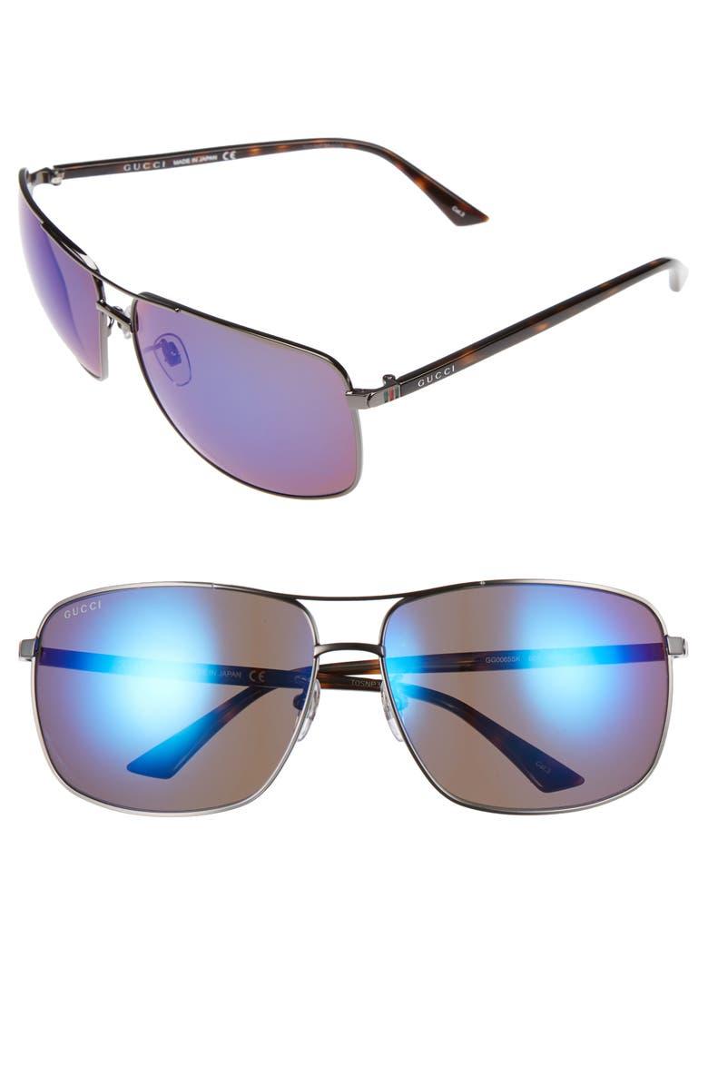 GUCCI Retro Web Caravan 66mm Sunglasses, Main, color, 052