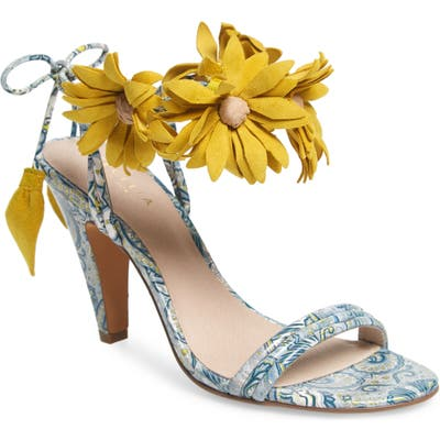 Cecelia New York Flower Ankle Wrap Sandal- Blue