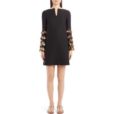 Valentino Sequin Bell Sleeve Wool & Silk Shift Dress, US / 40 IT - Black