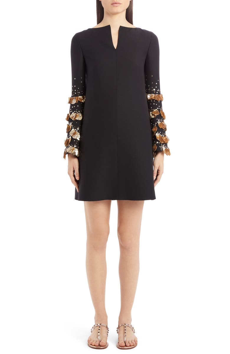 VALENTINO Sequin Bell Sleeve Wool & Silk Shift Dress, Main, color, NERO/ ORO