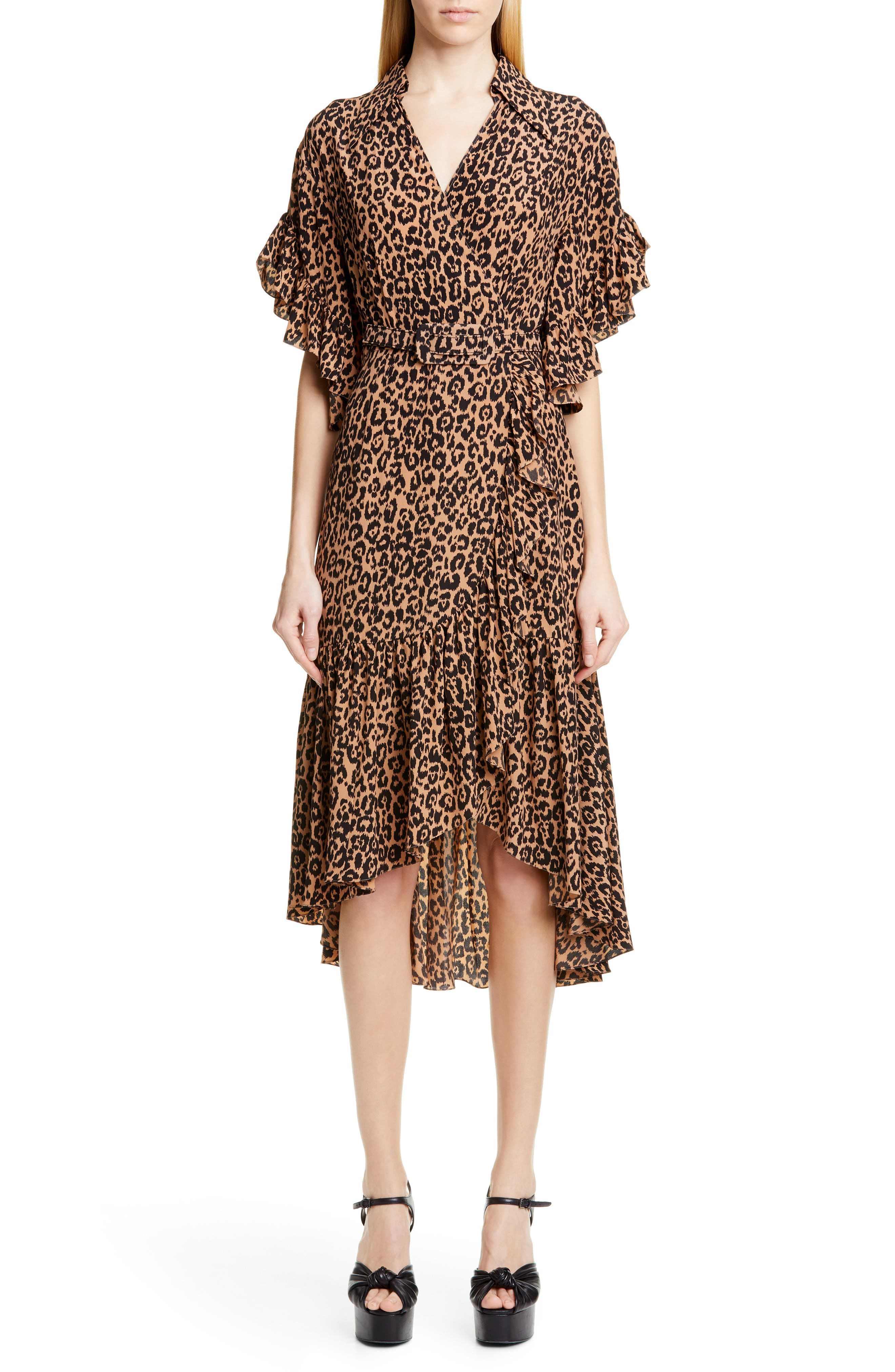 7fa0616ec Michael Kors Belted Animal Print Silk Crepe Wrap Dress, Beige