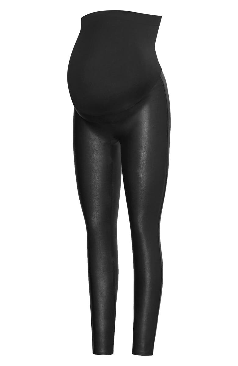 SPANX<SUP>®</SUP> Mama Faux Leather Maternity Leggings, Main, color, VERY BLACK