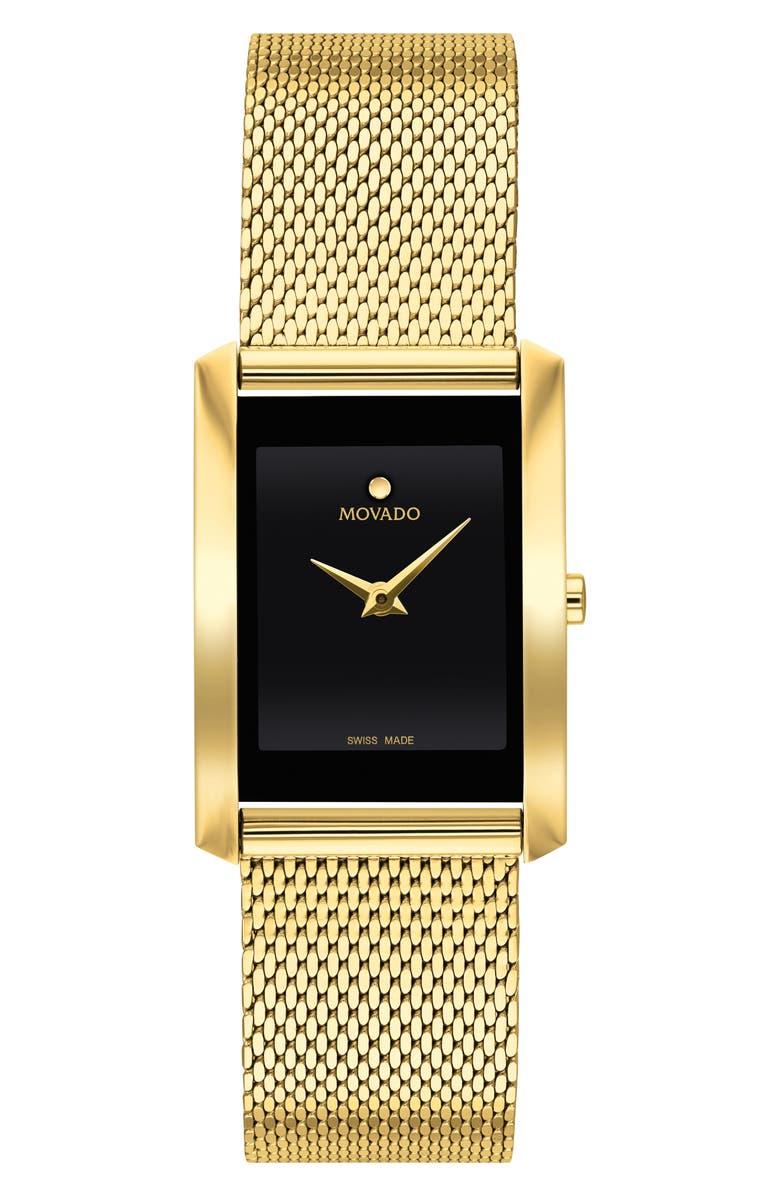 MOVADO La Nouvelle Mesh Strap Watch, 30mm, Main, color, GOLD/ BLACK/ GOLD