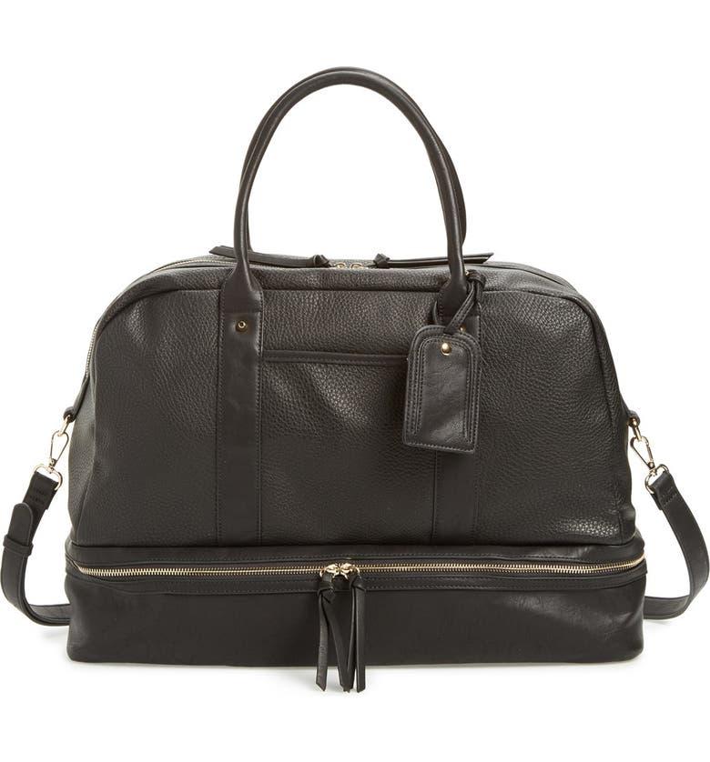 SOLE SOCIETY Mason Weekend Bag, Main, color, PEBBLED BLACK