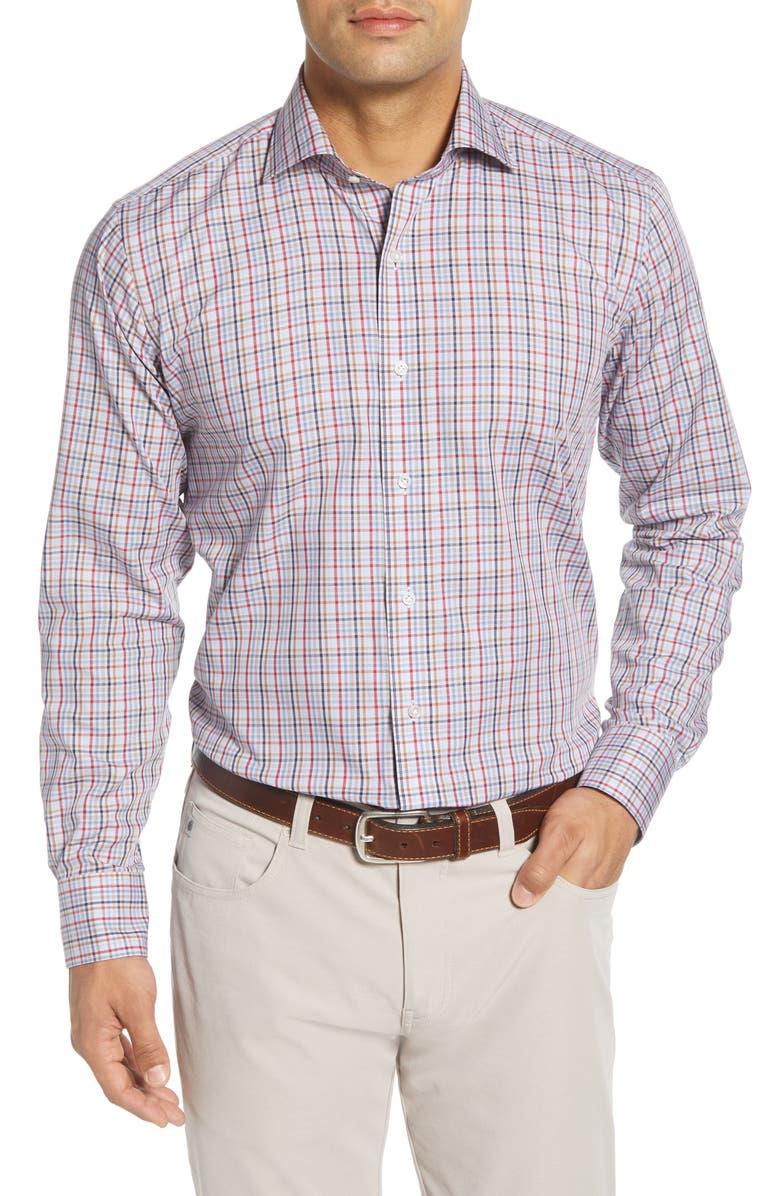 PETER MILLAR Frost Regular Fit Microcheck Button-Up Shirt, Main, color, ARGENTO