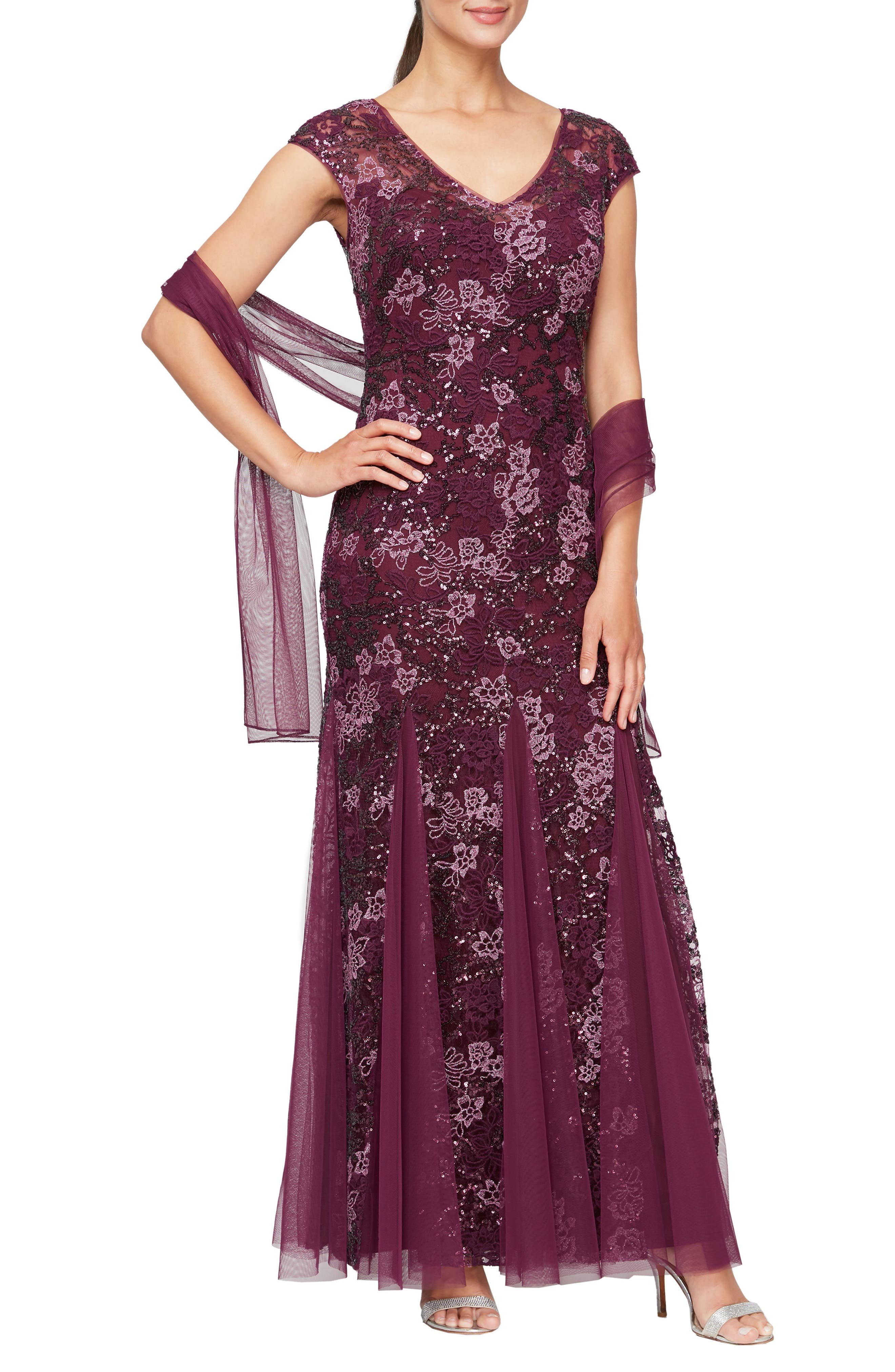 1930s Evening Dresses | Old Hollywood Silver Screen Dresses Womens Alex Evenings Sequin Embroidered Trumpet Gown Size 8 - Purple $259.00 AT vintagedancer.com