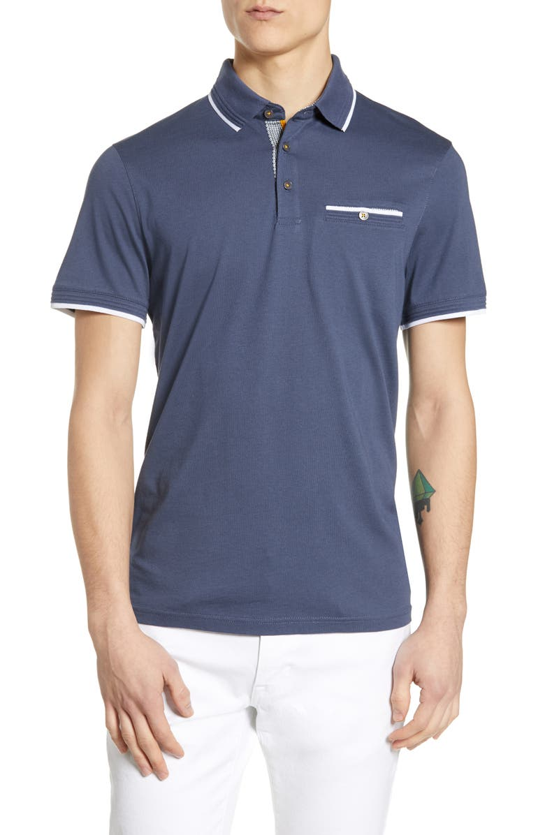 TED BAKER LONDON Derry Slim Fit Polo, Main, color, ASH