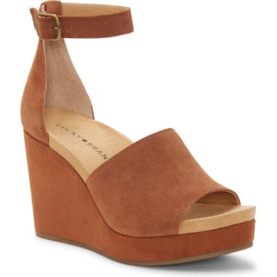Lucky Brand Yemisa Wedge Ankle Strap Sandal- Brown
