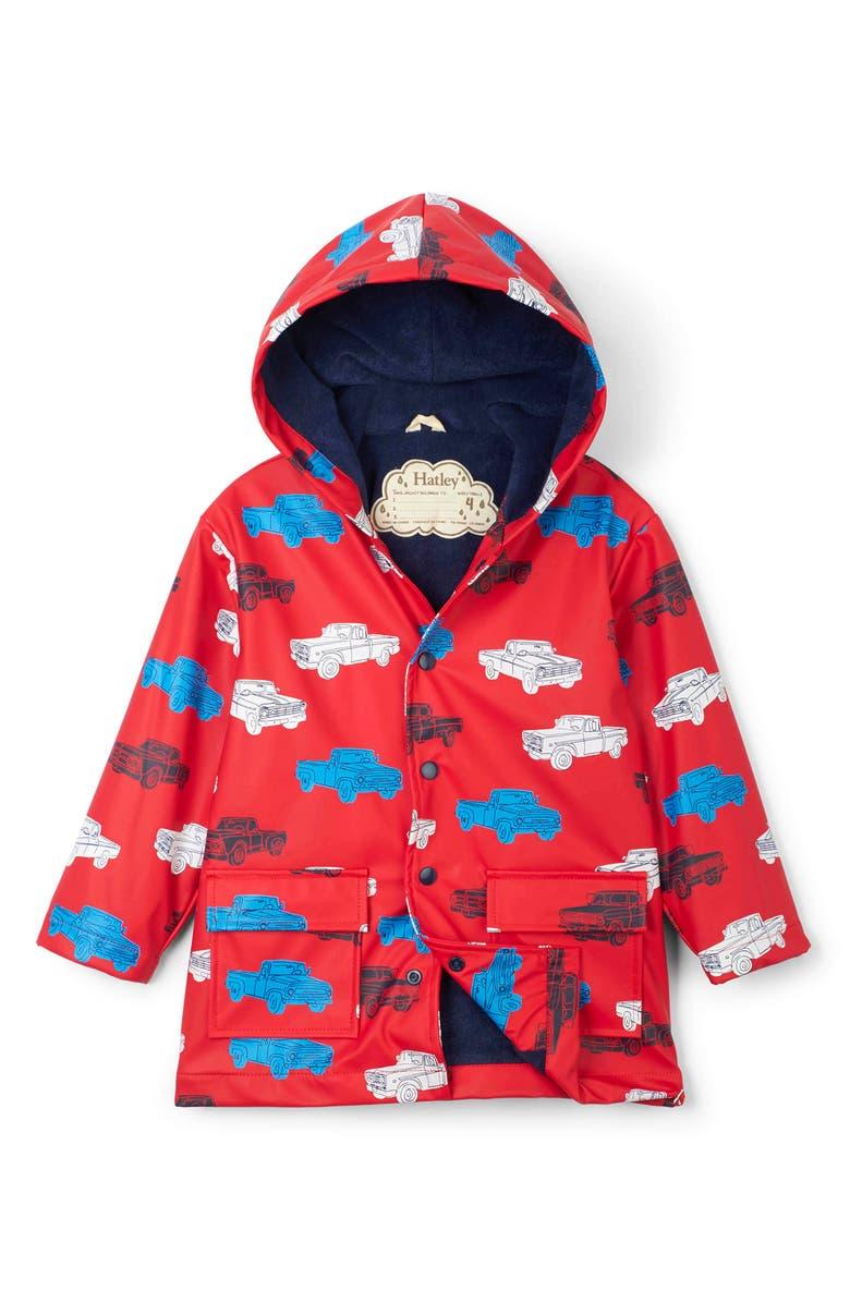 HATLEY Classic Pickup Trucks Waterproof Hooded Raincoat, Main, color, RED
